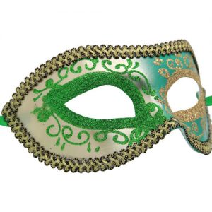 Silver and Green Venetian Mask