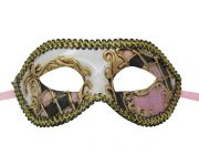 Gold Venetian Mask with Pink and Black Checkered Accent