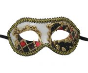 Gold Venetian Mask with Red and Black Checkered Accent