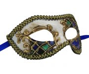 White Venetian Mask with Purple and Green Checkered Accent