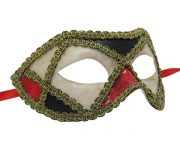 Red and Blue Venetian Mask with Gold Details