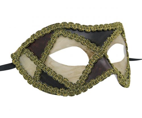 White and Purple Venetian Mask with Gold Details