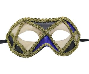 White Purple and Blue Venetian Mask with Gold Details