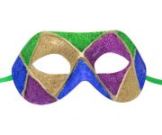 Green Gold Purple and Blue Multicolored Venetian Mask
