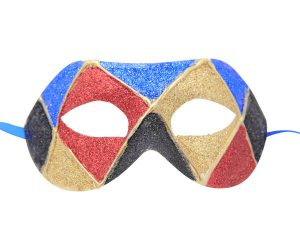Blue Red Gold Black Multicolored Venetian Mask