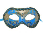 Aqua Blue and Silver Venetian Mask