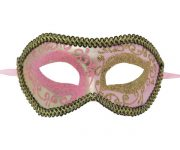 Light Pink and Gold Venetian Mask with Black and Gold Outline