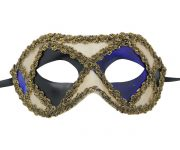 White Venetian Mask with Blue and Black