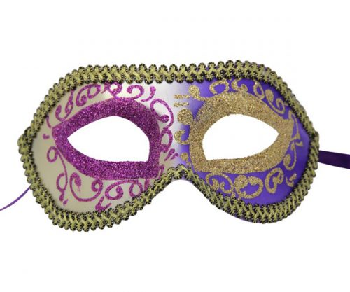 Silver and Purple Venetian Mask with Gold Patterns