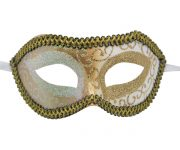 Silver Venetian Mask with Gold Details