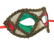 White Red and Green Venetian Mask
