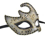 Silver Venetian Mask with Black and Gold Details