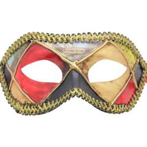 Multicolored (Red Black Beige Yellow Gray) Venetian Mask
