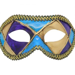 Multicolored (Purple Blue Beige) Venetian Mask