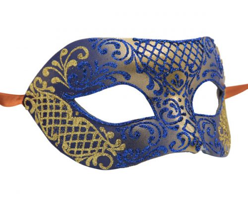 Unique Blue And Gold Authentic Masquerade Mask