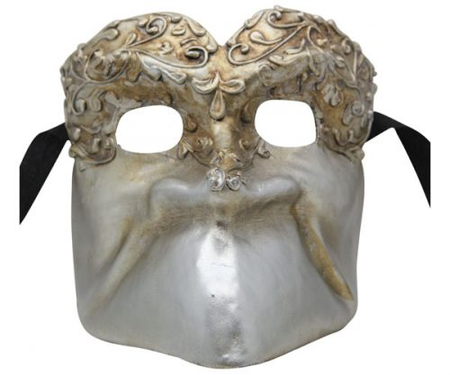 Silver Bauta Authentic Venetian Mask