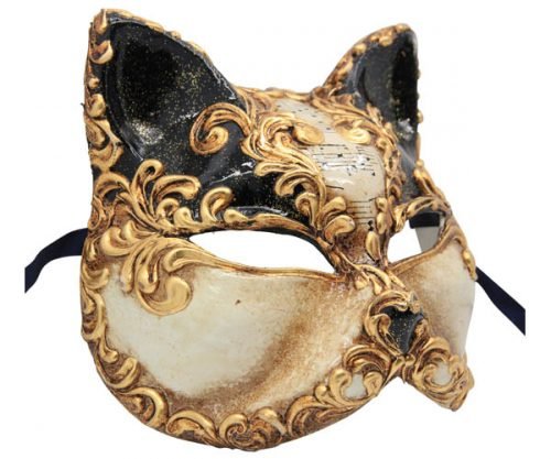 Black And Gold Cat Authentic Venetian Mask