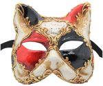 Black Red And Gold Cat Authentic Venetian Mask