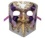 Purple And Gold Bauta Authentic Venetian Mask