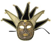 Black Gold Jester Masquerade Mask