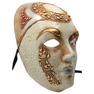 Gold Crackle Venetian Mask