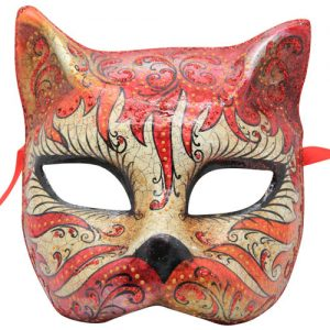 Red Authentic Cat Venetian Mask