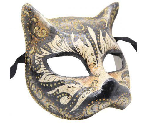 Black Authentic Gatto Venetian Mask