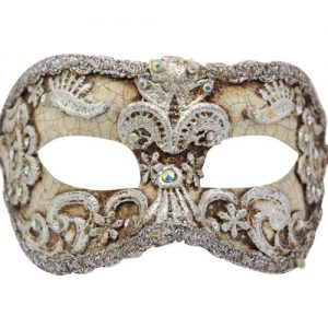 Cream And Silver Authentic Masquerade Mask