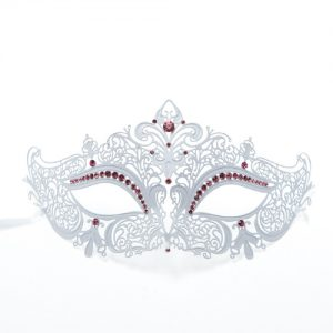 White Metal Filigree Masquerade Mask with Pink Crystals