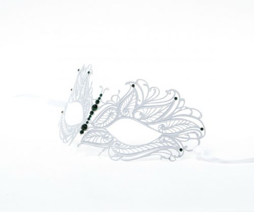 White Butterfly Metal Filigree Masquerade Mask with Green Crystals