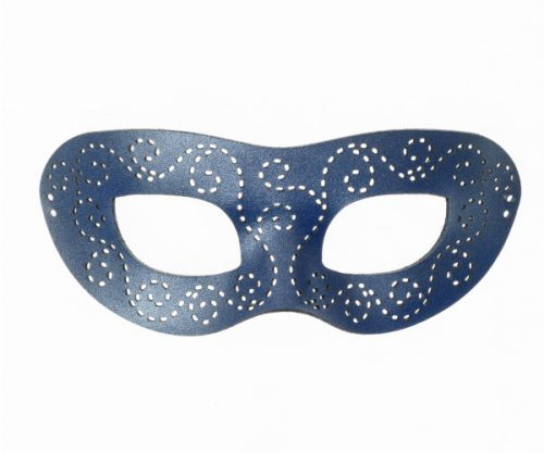 Pearlescent Blue Authentic Leather Masquerade Mask