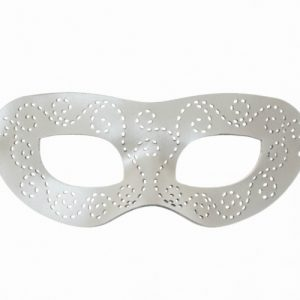 Pearlescent White Authentic Leather Masquerade Mask