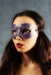 Purple Pearlescent Authentic Leather Masquerade Mask