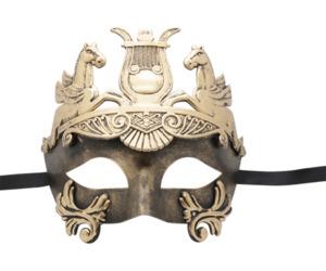 Roman Warrior Gold Black Masquerade Mask