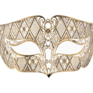 Rustic Gold Noble Filigree Masquerade Mask With Black Crystals