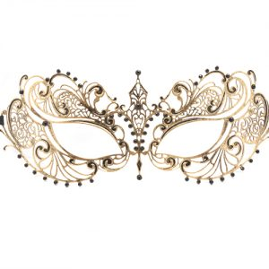 Gold Filigree Masquerade Mask with Black Tear Drop Crystals