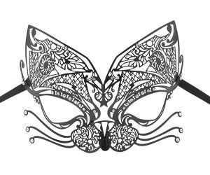 Black Metal Kitten Filigree Masquerade Mask