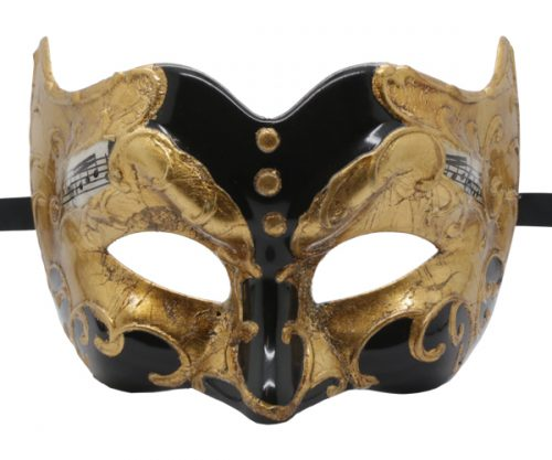 Black and Gold Pulcinella Mask with Music Note Pattern