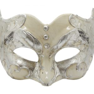 Silver and Champagne Pulcinella Mask with Music Note Pattern