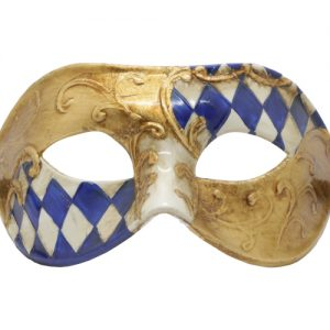 Gold Masquerade Mask with Blue and White Check