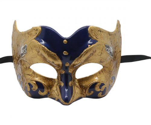 MMHQ-563- Blue and Gold Masquerade Mask with Music Notes Pattern