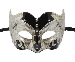 Music Note Pattern Silver and Black Pulcinella Mask