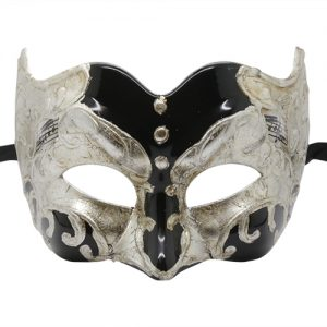 Music Note Pattern Silver and Black Pulcinella Mask