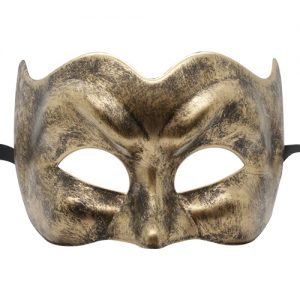 Brushed Black and Gold Pulcinella Venetian Mask