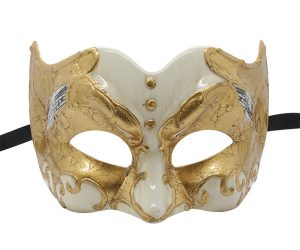 Gold and White Pulcinella Mask with Music Note Pattern