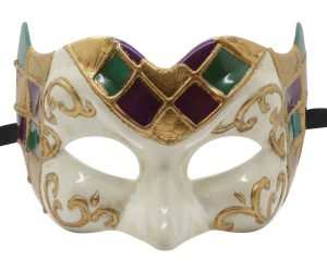 Fun Pulcinella Mask with Multicolored Checkered Pattern