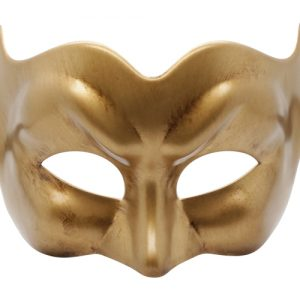 Brushed Gold Pulcinella Venetian Mask