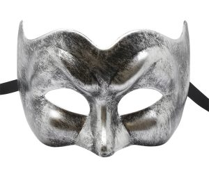 Brushed Black and Silver Pulcinella Masquerade Mask