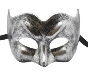 Brushed Black and Silver Pulcinella Masquerade Mask