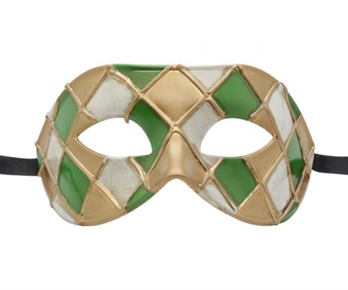 Gold, Green, and White Harlequin Pattern Venetian Mask